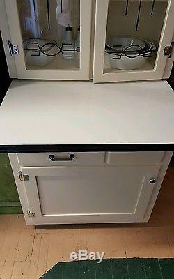 Rare Junior Hoosier Cabinet Glass Front Doors, bread drawer, Enamel Top Sellers