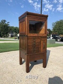 Rare Oak Globe Wernicke 1/2 Size Stacking File Cabinet