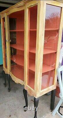 Reclaimed upcycled beveled glass China cabinet. Fun, fresh, bright & beautiful