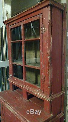 Red Farmhouse Antique Primitive Early Large Old Stepback Cupboard Cabinet