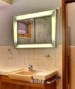 Retro Modern Vintage 1960s Chrome Mirror Bathroom Medicine Cabinet Lighted