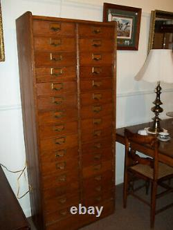 S21 Antique Oak File Cabinet Originally in Allen's Hardware, Clinton, NY c 1900
