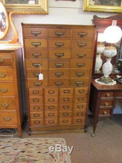 S38 antique oak multi drawer file unit cabinet Yamman & Erbe Mfg Rochester NY