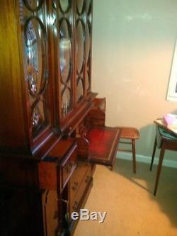 SAGINAW made, Vintage/antique Rare Mahogany China Breakfront Cabinet withsecretary