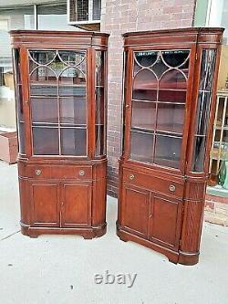 Sheraton style vintage Mahogany china corner cabinet cupboard 2 available