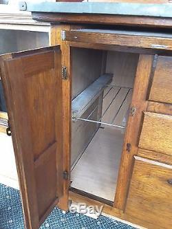 Small Antique Oak Hoosier Cabinet