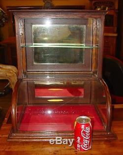 Small quartered oak curved glass tower display case cabinet-15201