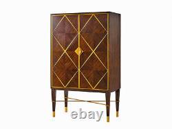 Spectacular Mahogany & Inlaid Brass Art Deco Mirrored Liquor cabinet Lighted Bar