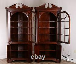 Stickley Chippendale Style Large Pair Mahogany Corner Cabinets
