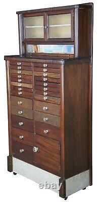 The Harvard Co Style 86 Antique Mahogany Oak & Marble Apothecary Dental Cabinet