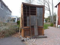 UNIQUE c1840 bowed built in LIBRARY cabinet 10'h x 87 across ASHER BENJAMIN