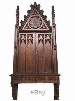 Unique Antique French Gothic Wall Cabinet, 78 Tall, Narrow, Turn of the Century