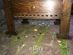 Unusual Arts and Crafts Oak Work Vice Cabinet (Stickley era) MUSEUM DEACCESSION