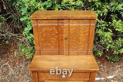 Unusual Mission Tiger Oak Arts and Crafts Period Vice Cabinet Ca. 1910