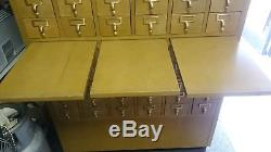 VINTAGE 60 DRAWER CARD FILE CATALOG STORAGE CABINET 60 tall 41 wide 20 deep