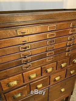 VINTAGE ANTIQUE Oak Library Card Cabinet 6 piece