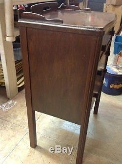 Vintage Antique Rare Swing Door Wood Sewing Cabinet End Table