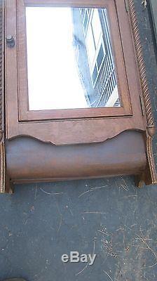 VINTAGE Oak Medicine Cabinet W Swing Mirror with fancy beading Bentwood Bottom