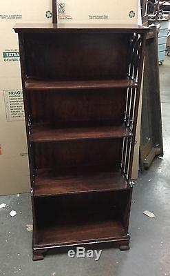 VINTAGE mahogany open book shelf cathedral cut out sides