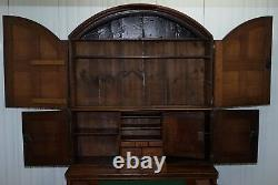 Very Rare Circa 1740 Continental Arched Top Oak Dresser Cupboard Cabinet Drawers