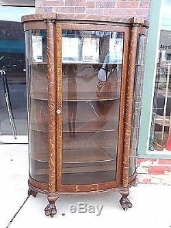Victorian Antique Quarter Sawn Oak Triple Curved Glass