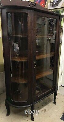 Victorian Antique Solid Oak Curved Glass Curio Display Cabinet Paw Feet