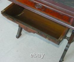 Victorian Antique Walnut Sewing Table Storage Cabinet