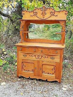 Victorian Antique oak ornate Sideboard buffet breakfront cabinet & mirrored back