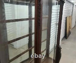 Victorian Carved Oak North Wind Curved Glass Curio Crystal Display Cabinet