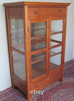 Victorian Tiger Oak Pantry Cabinet With Carved Dental Molding Fine Antique