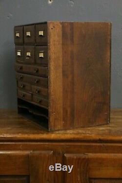 Vintage 12 Drawer Wood Cabinet File Box Cubby industrial Tool Box Drafting Table