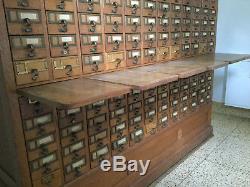 Vintage 120 Drawer Oak Library Card Catalog Cabinet