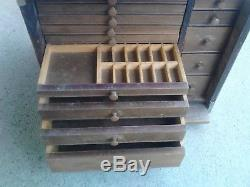 Vintage 14 Drawer Apothecary Chest Dental Cabinet Wooden Storage Box Jewelry Etc