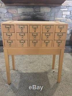 Vintage 15 Drawer Library Maple File Card Catalog Storage Cabinet