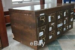 Vintage 15 Drawers Wooden Card Catalog Cabinet/ Library File Cabinet- Organize