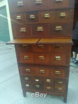 Vintage 1900s library tiger oak, 11 pieces filing cabinet