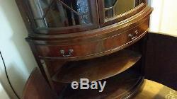 Vintage 1940's 1950's Mahogany Corner China Curio Cabinet