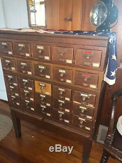 Vintage 1950 Library Bureau Makers 25 Drawer Card Catalog Cabinet Mid Century