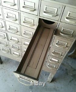 Vintage 36 Drawer Floor Library Card Catalog Cabinet Industrial Parts Bin