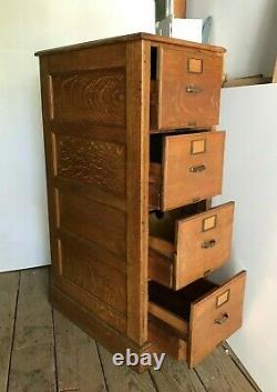Vintage 4 Drawer Oak File Cabinet- Great Condition