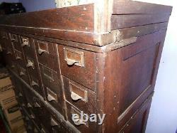 Vintage 4 Pc 72 Drawer Wood Library Bureau Industrial File Cabinet