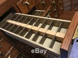 Vintage 60 Drawer Card Catalog File/Cabinet Library, Oak, Brass Pulls