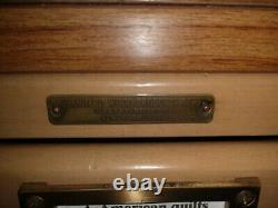 Vintage Antique Light Standard Wood Products Corp 30 Drawer Library Card Catalog