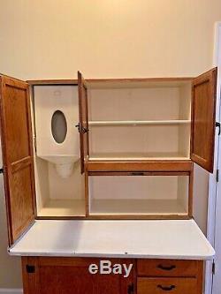Vintage Antique Oak Hoosier Cabinet withFlour Bin, Tin Breadbox Drawer
