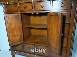 Vintage Apothecary Herbal Medicine Pagoda Cabinet Chest Asian Oriental Drawers