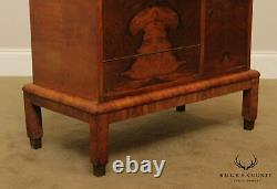 Vintage Art Deco Walnut Chair Side Liquor, Bar Cabinet