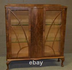 Vintage Art Deco Walnut Curio Display Cabinet Circa 1930's