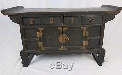Vintage Asian apothecary cabinet 3 drawer chest carved wood brass