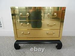 Vintage Brass Clad 3 Drawer Bachelors Chest Ming Base Hollywood Regency