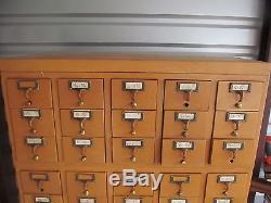 Vintage Card Catalog Cabinet 30-Drawer From School Library Wood Dovetail